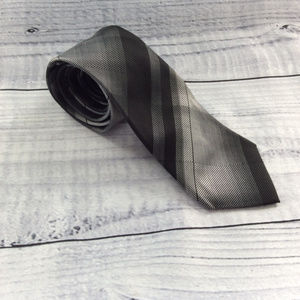 Marc Anthony Black and Gray 100% Silk Necktie
